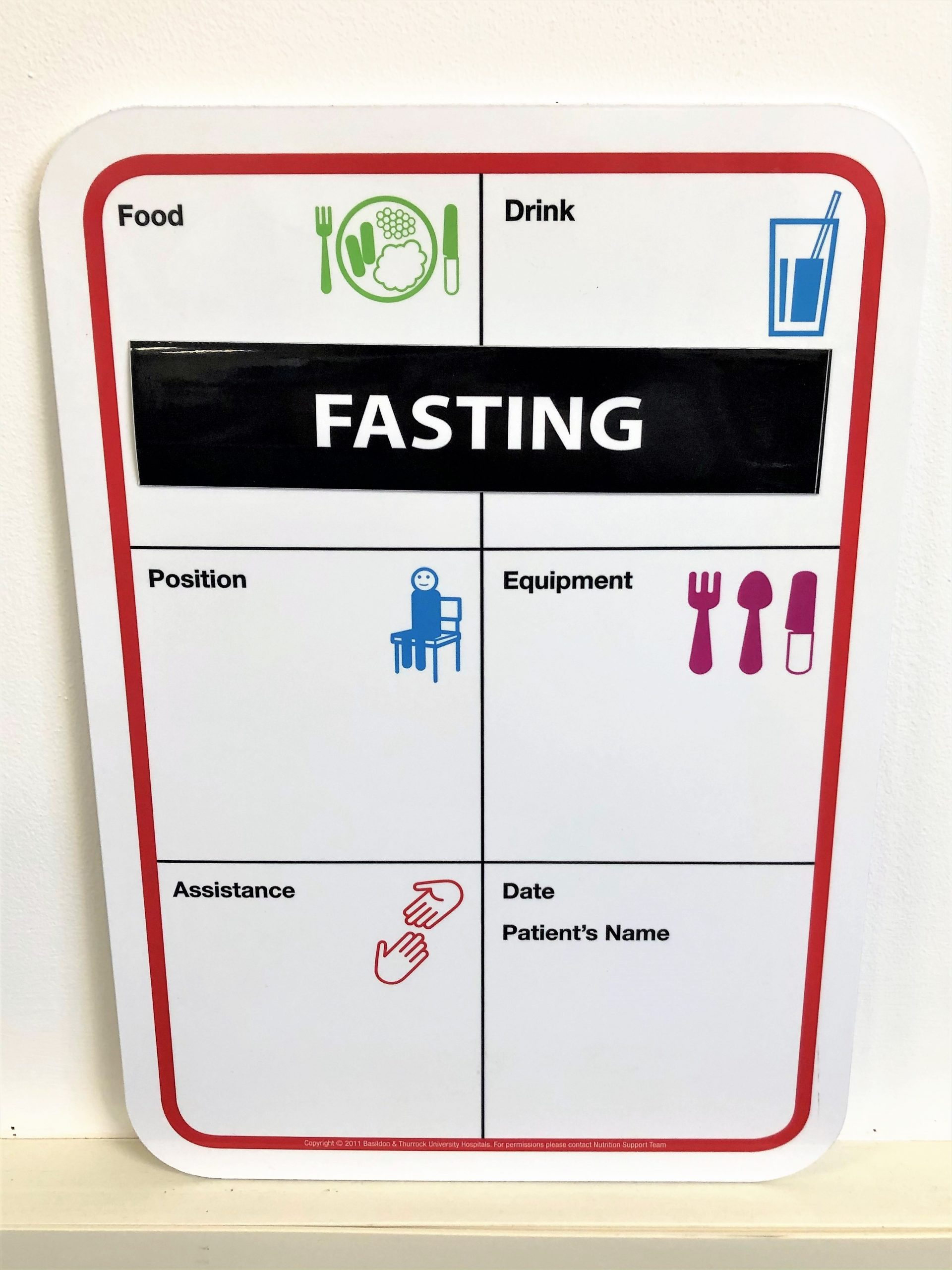 Dry wipe printed board for hospital bed
