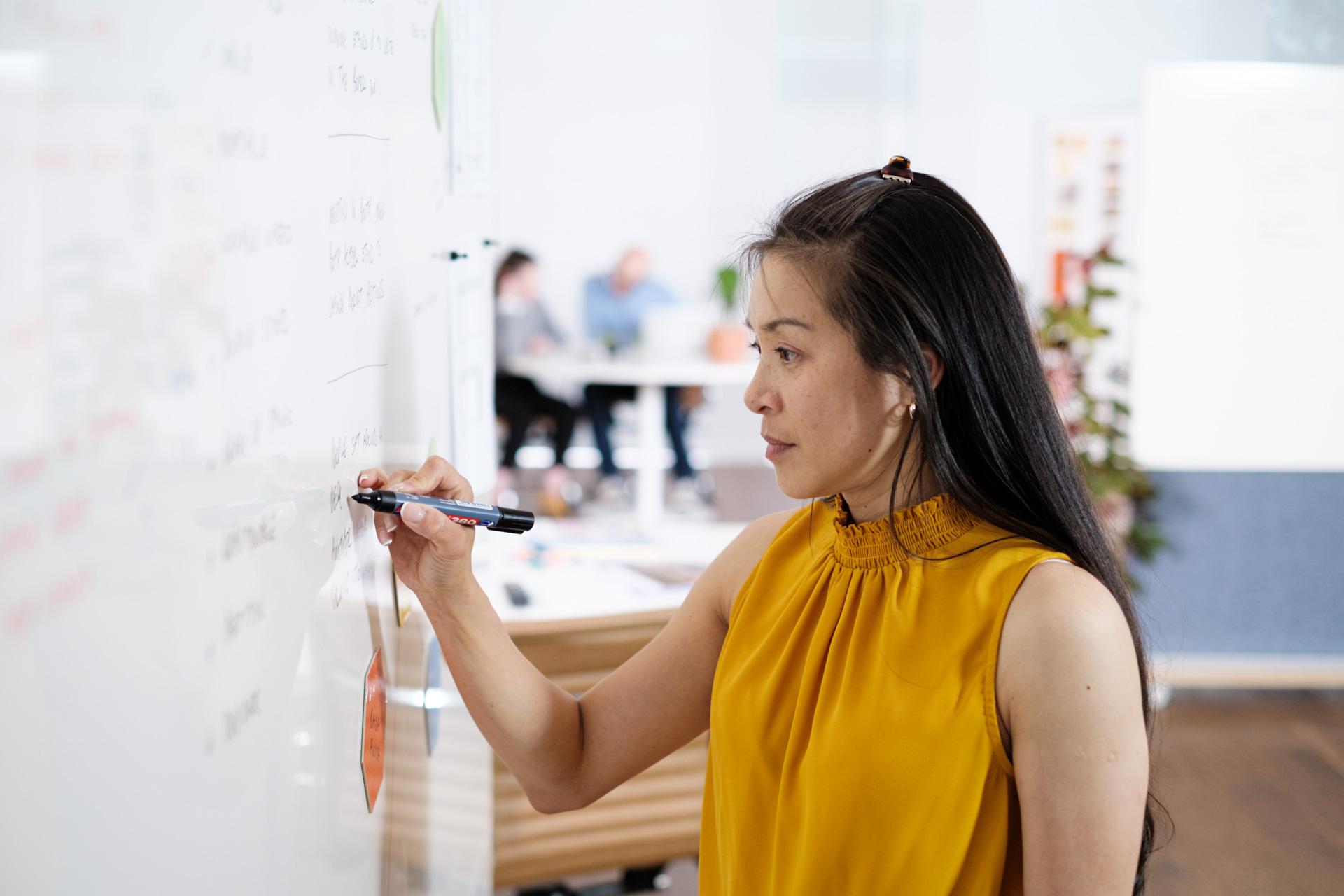 Writing on a ThinkingWall whiteboard