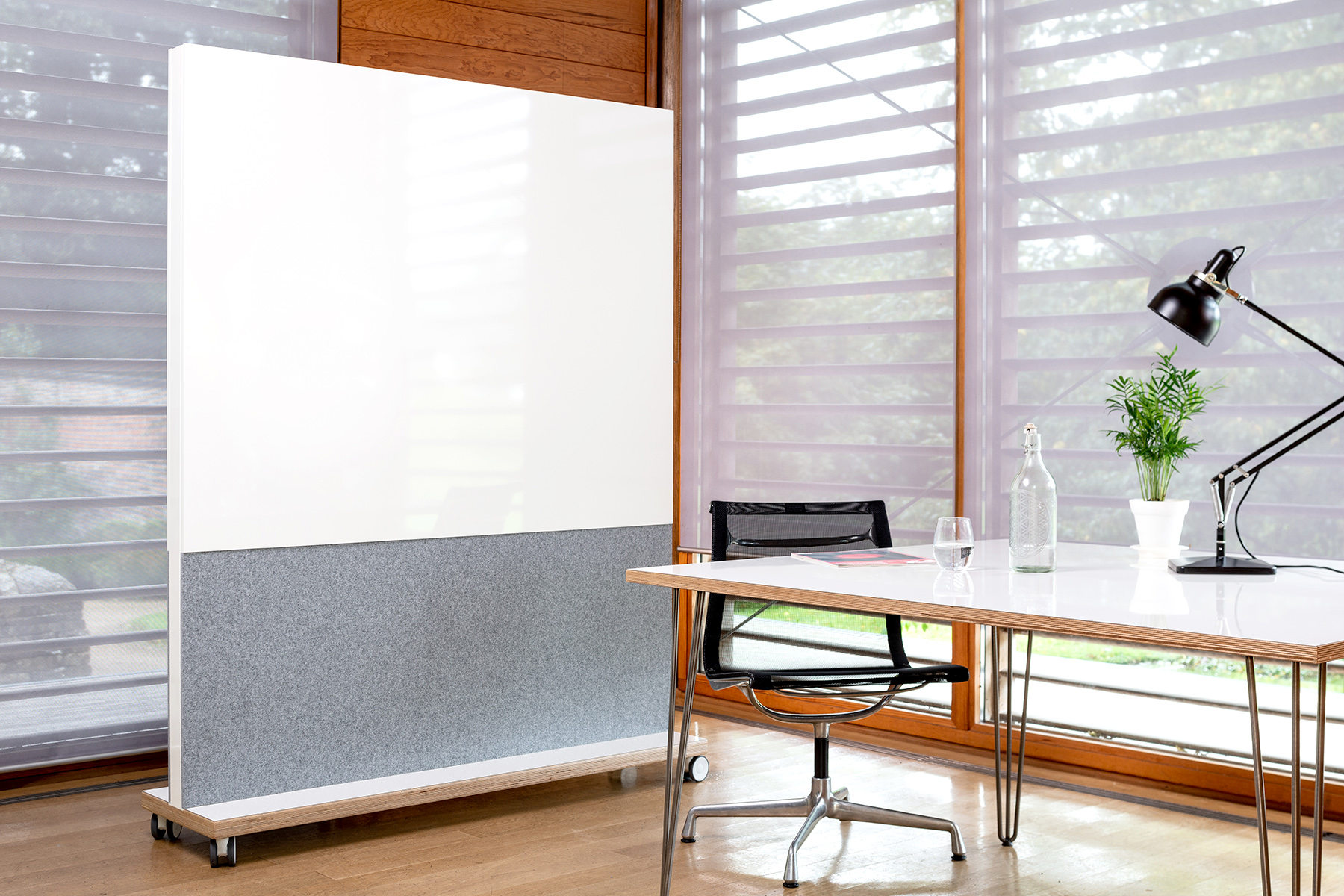 Whiteboard Desk With Acoustic Mobile Whiteboard