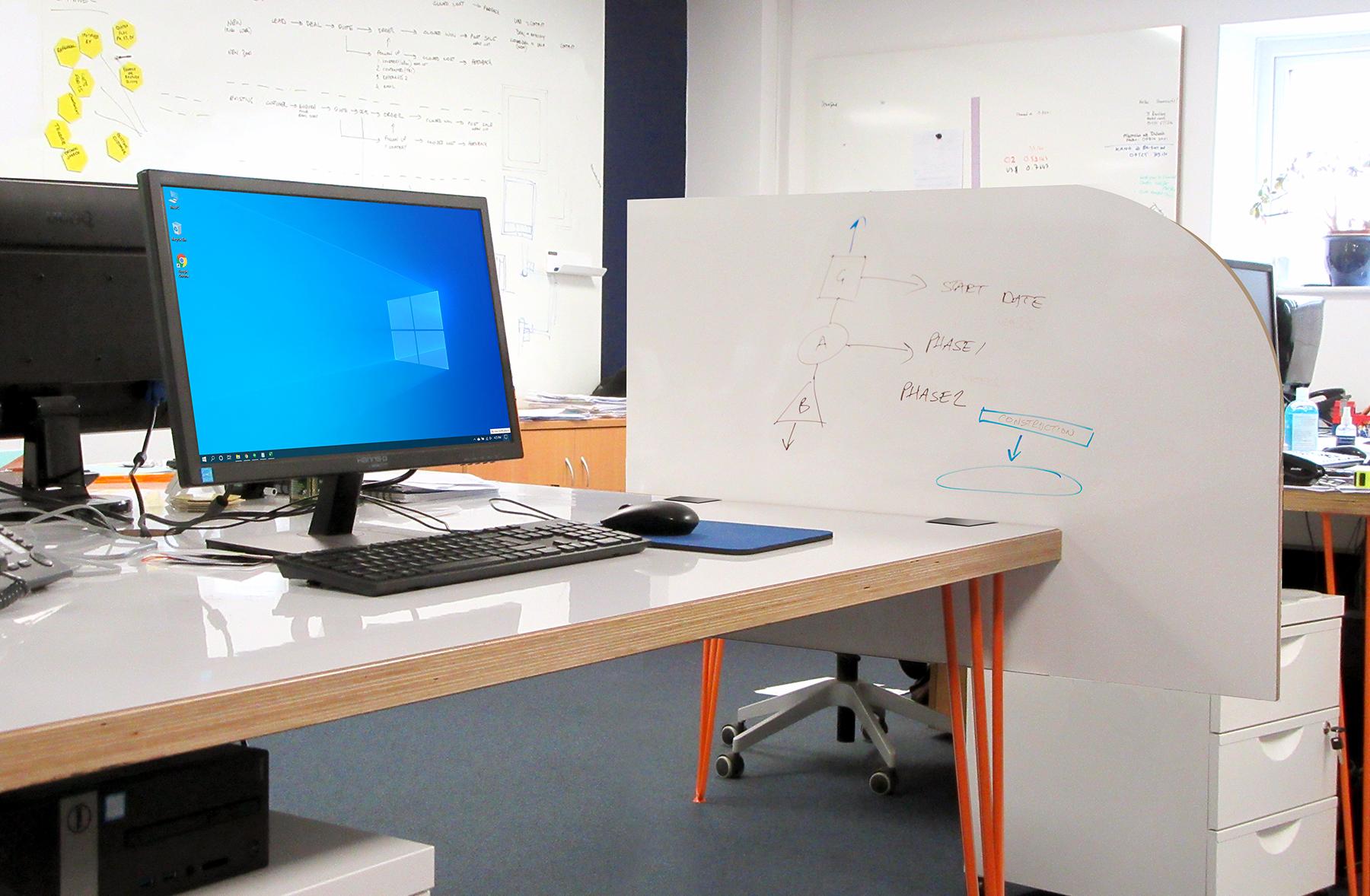 Whiteboard desk screens